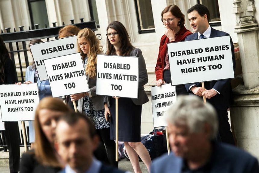 Pro-life campaigners outside the Supreme Court, Central London, Britain, on June 7, 2018.