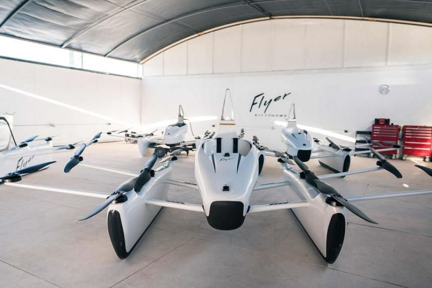 """Kitty Hawk, funded by Google co-founder Larry Page, unveiled a """"Flyer"""" model it described as """"an exciting first step to sharing the freedom of flight""""."""