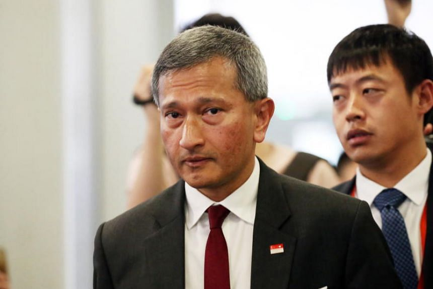 Singapore's Foreign Minister Vivian Balakrishnan (pictured) is expected to meet his North Korean counterpart Ri Yong Ho and pay a courtesy call to Mr Kim Yong Nam, the ceremonial leader of the state.