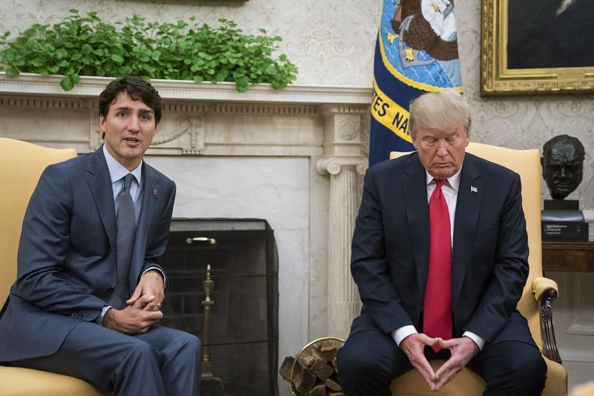 Trudeau meeting Trump at the White House in October 2017.