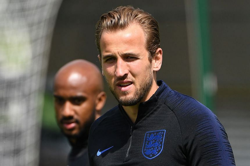 England's striker Harry Kane attends an open training session at St George's Park in Burton-on-Trent, on June 6, 2018.