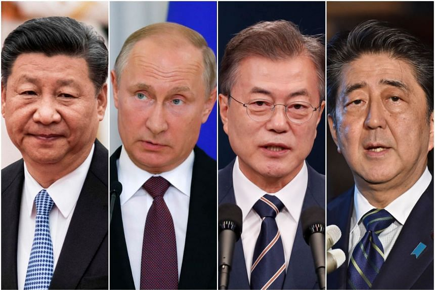 (From left) Chinese President Xi Jinping, Russian President Vladimir Putin, South Korean President Moon Jae In and Japanese Prime Minister Shinzo Abe are determined to make their countries' presence felt at the Singapore summit.