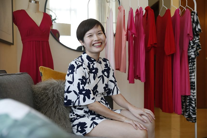 Ms Dorothy Loh, owner of maternity wear line Dote, incorporates design elements such as cheongsam-style Chinese collars into her pieces.
