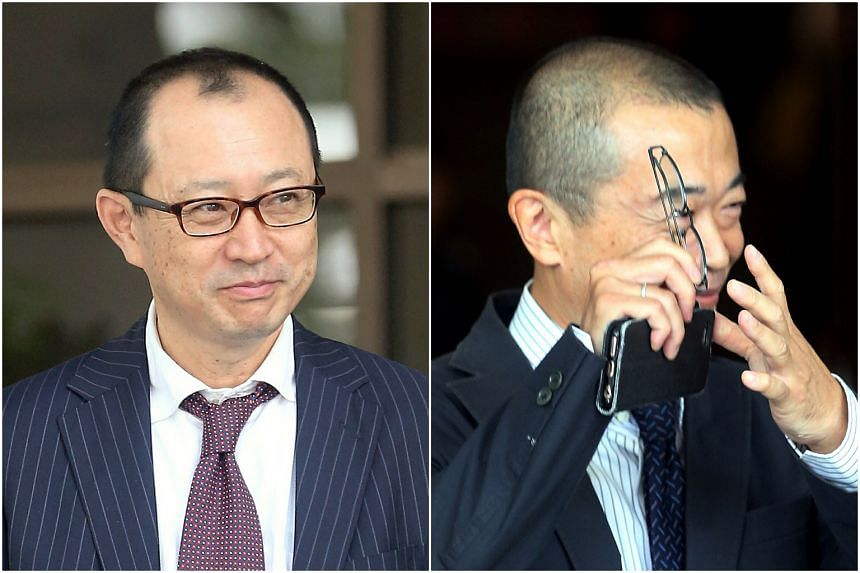 Ishibe Katsutoshi (right) and  Masui Takaaki were each sentenced to five years and six months' jail after they were found guilty of 28 counts of corruption each.
