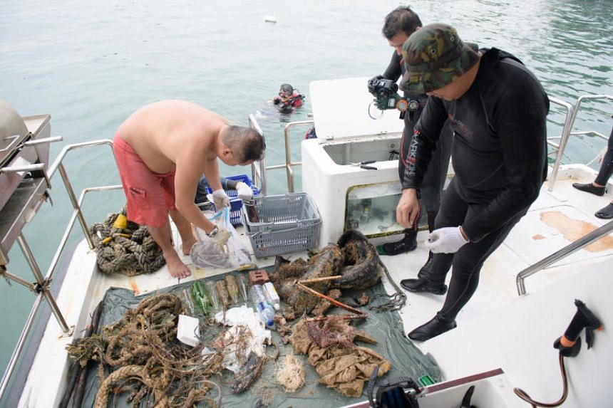 Twenty divers collected 110kg of marine litter during the event organised by the Maritime and Port Authority of Singapore (MPA) to mark World Oceans Day.