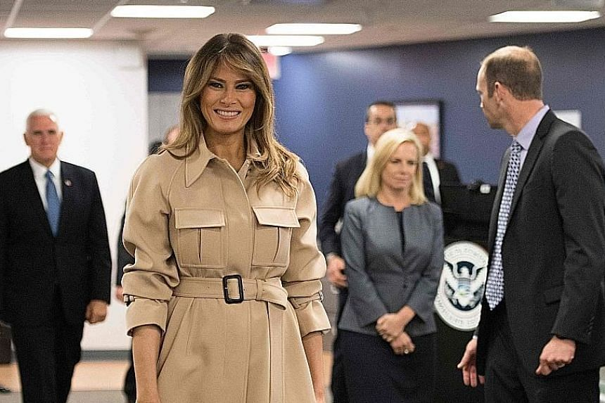 US First Lady Melania Trump visiting the Federal Emergency Management Agency Headquarters. She had not been seen in public since May 10. SCAN TO WATCH Melania Trump reappears after absence http://str.sg/ melania