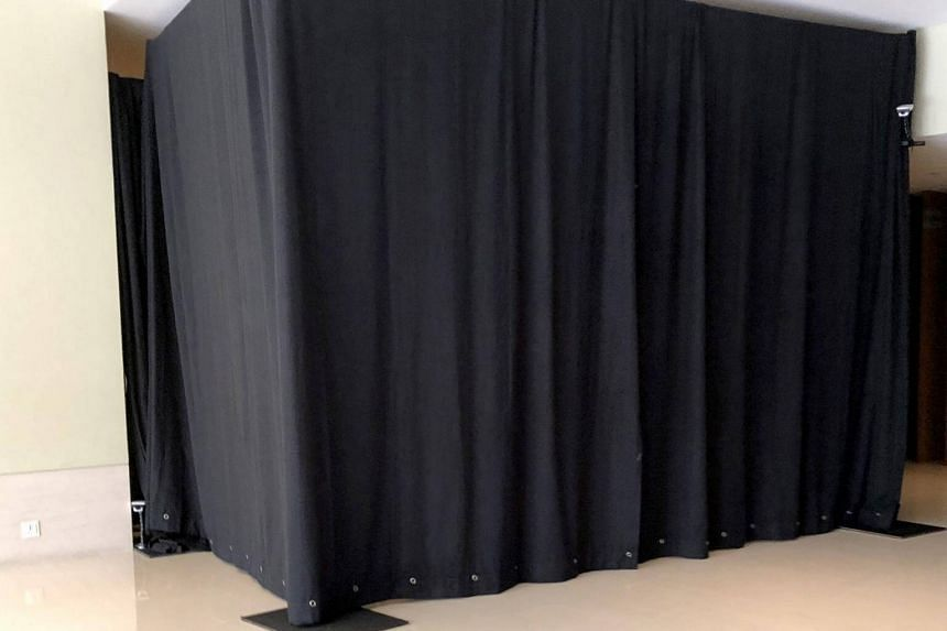 A black curtained-off area guarded by security cameras on the second floor of Capella Singapore on June 7, 2018.