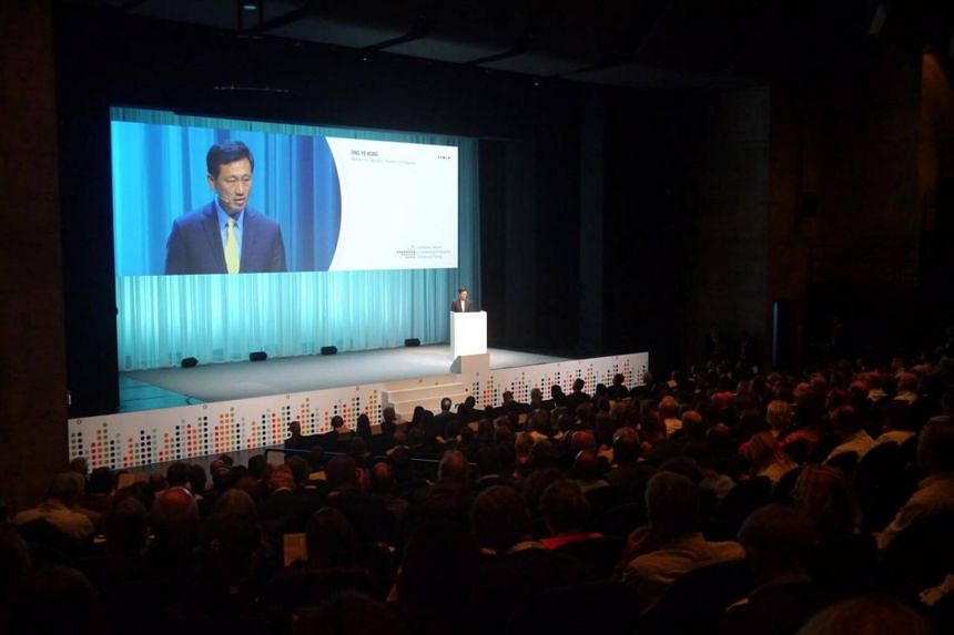Education Minister Ong Ye Kung giving his keynote address at the 3rd International Congress on Vocational and Professional Education and Training in Switzerland, on June 7, 2018.