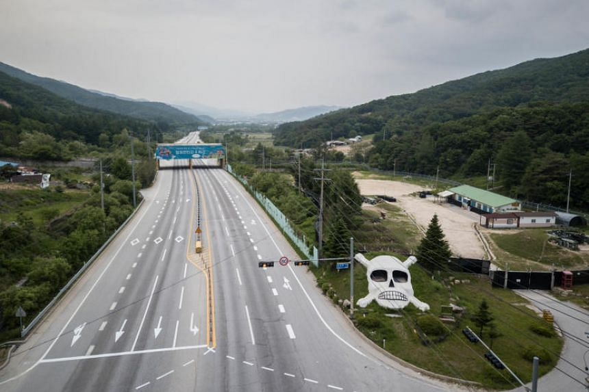 The entrance to a South Korean military camp in Cheorwon near the Demilitarized Zone separating North and South Korea.