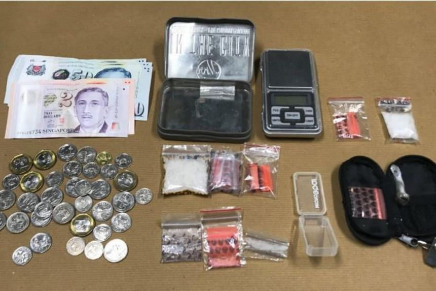 Drugs and drug paraphernalia seized during the CNB operation at a unit in Chin Swee Road, on June 5, 2018.
