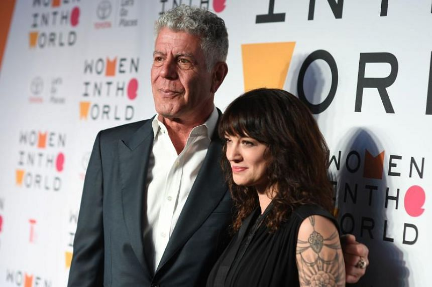 Chef Anthony Bourdain and his girlfriend, actress Asia Argento, at the 2018 Women In The World Summit in New York City on April 12, 2018.