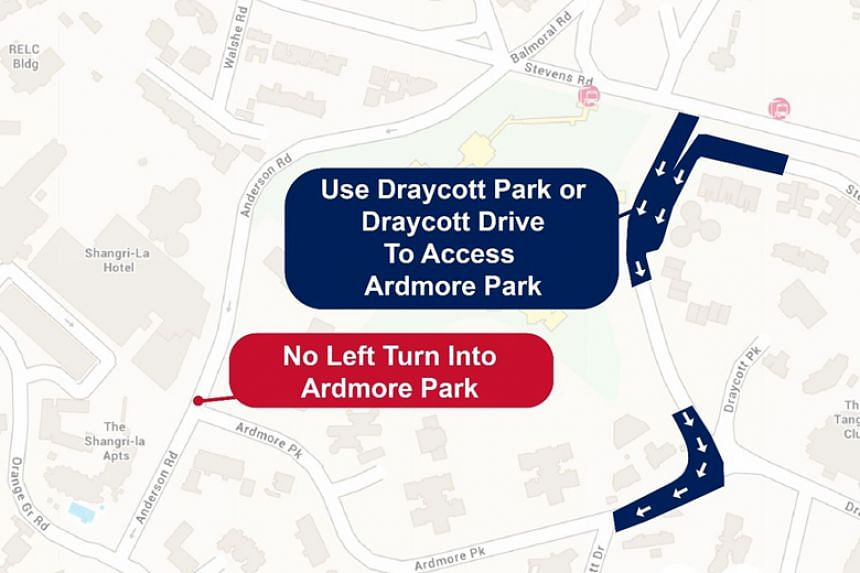 Vehicular traffic along Ardmore Park, in the direction of Draycott Drive, will be reversed from June 10 to 14, 2018.
