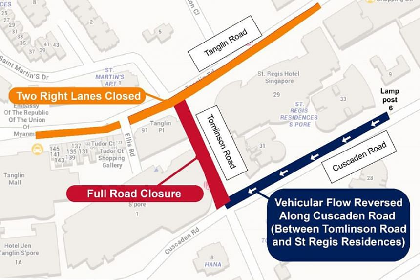 Vehicular traffic along Cuscaden Road, in the direction of Orchard Road, will be reversed from June 9 to 14, 2018.
