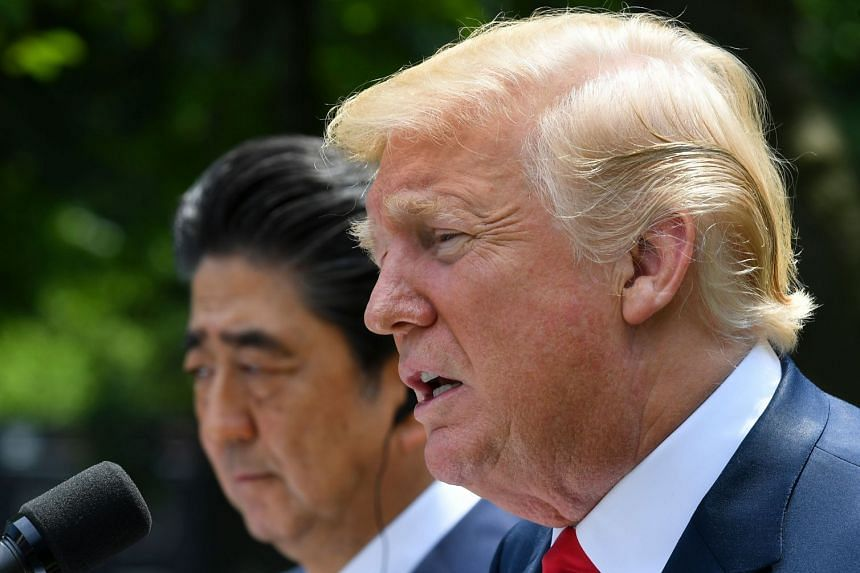 Trump speaks as Abe looks on during a joint press conference in the Rose Garden of the White House.