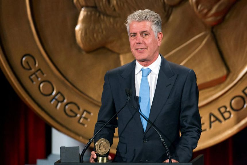 Anthony Bourdain speaks about the show Parts Unknown after the show won a Peabody Award in New York, on May 19, 2014.