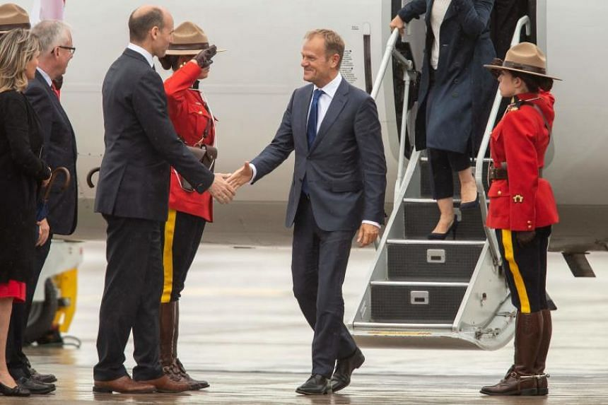 Chairman of European Union leaders Donald Tusk arrives for the G-7 leaders summit in Quebec, Canada, on June 7, 2018.