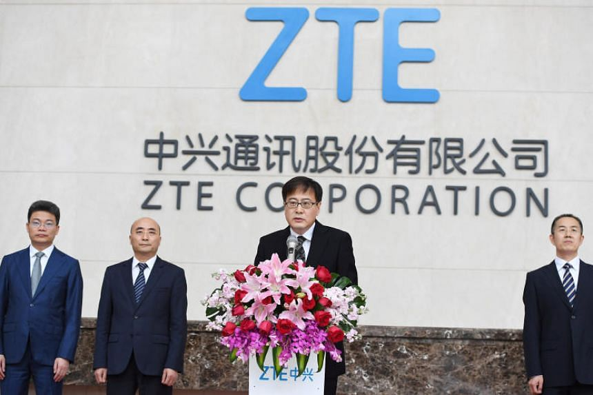 ZTE Corp's chairman Yin Yimin speaking at a news conference at ZTE's headquarters in Shenzhen, China, on April 20, 2018.
