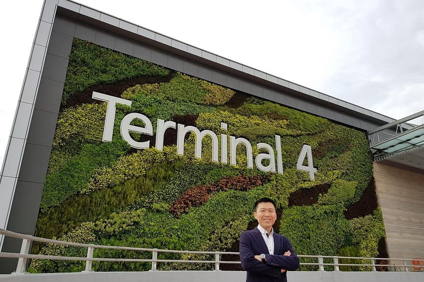 Building System and Diagnostics' co-founder Tan Phay Ping at Changi Airport's Terminal 4. His company was the energy and environmental sustainability consultant for the development.