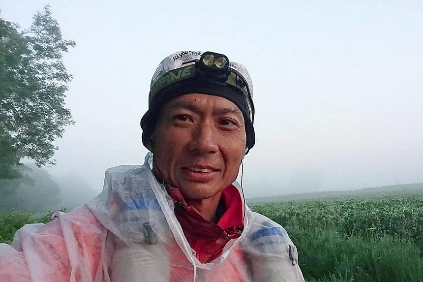 Singaporean Chris Yeo, 45, during the Monarch's Way Ultra, dubbed the longest non-stop race in Britain. He completed the race in 13 days.