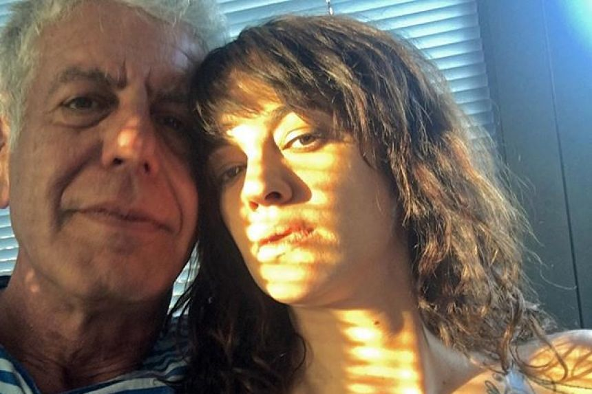 Bourdain and Argento in a photo posted to the actress' Instagram account in April 2018.
