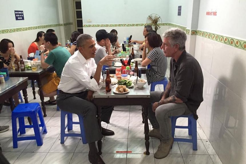 Anthony Bourdain and former US president Barack Obama shared a simple meal of pork noodles and fried spring rolls at Bun Cha Huong Lien restaurant.