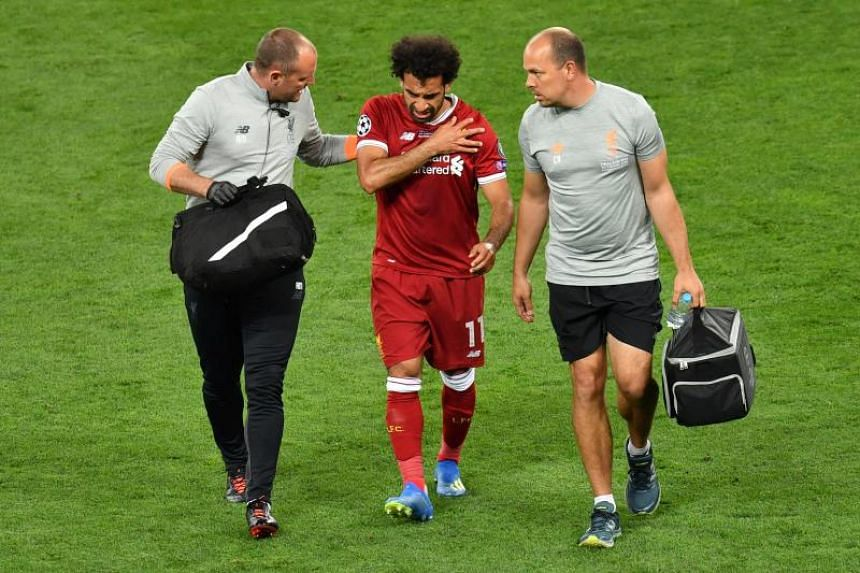Liverpool's Mohamed Salah went off with a shoulder problem in the first half of their 3-1 defeat to Real Madrid in the Champions League final on May 27, 2018.