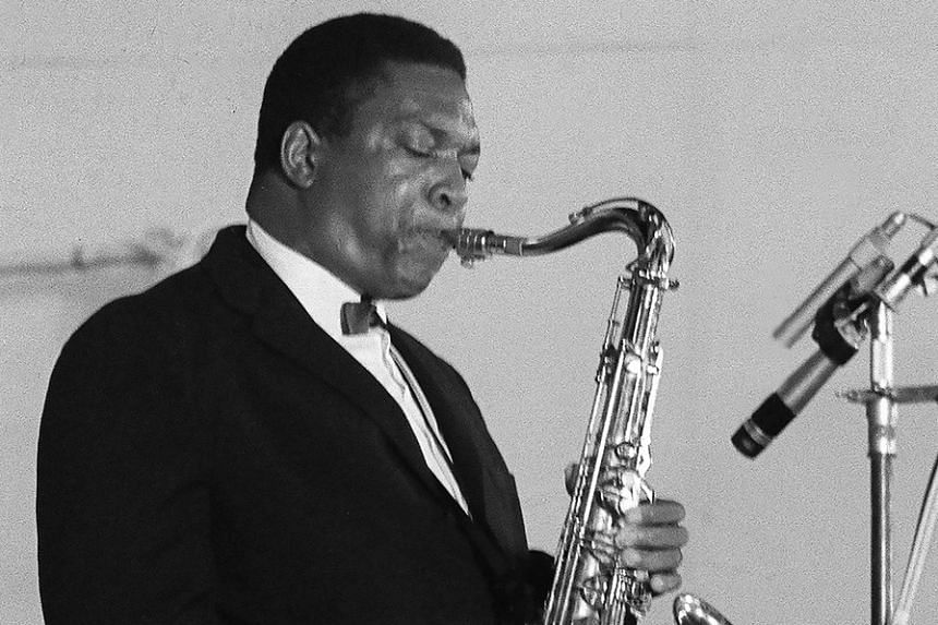 An undated file photo shows American tenor saxophonist John Coltrane during a concert in Paris.