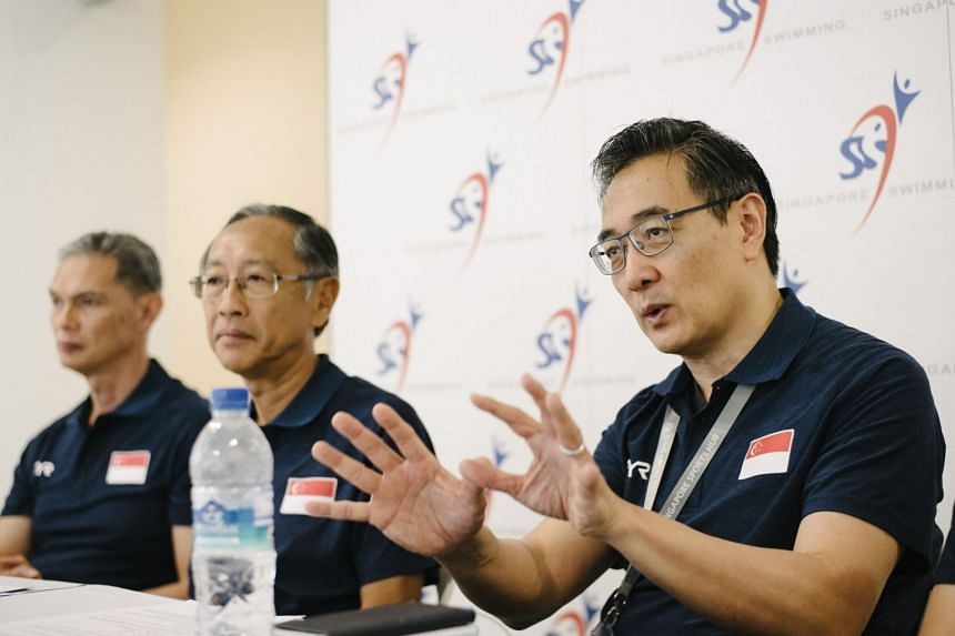 Singapore Swimming Association (SSA) secretary-general Oon Jin Teik (right) and president Lee Kok Choy (left).