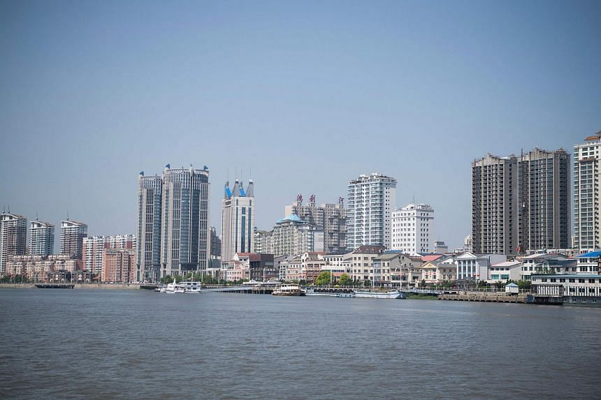 Residential buildings in the border city of Dandong, in China's north-east Liaoning province, on May 30, 2018.
