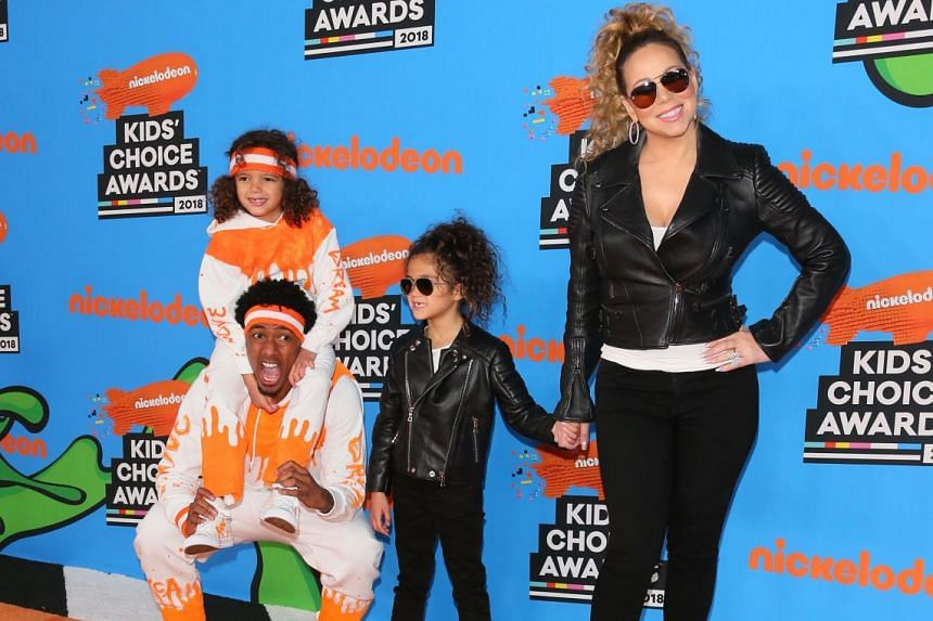 Mariah Carey and Nick Cannon at the 31st Annual Nickelodeon Kids' Choice Awards in March with their twins, son Moroccan Scott and daughter Monroe.