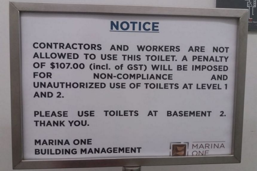 Facebook user Martha Tara Lee took a photo of the warning - taken at the new Marina One centre - and posted it online on Friday (June 8).