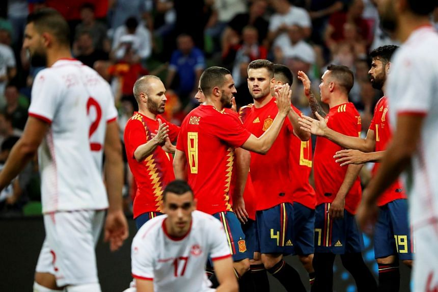 Spanish players celebrate their 1-0 lead during the match.