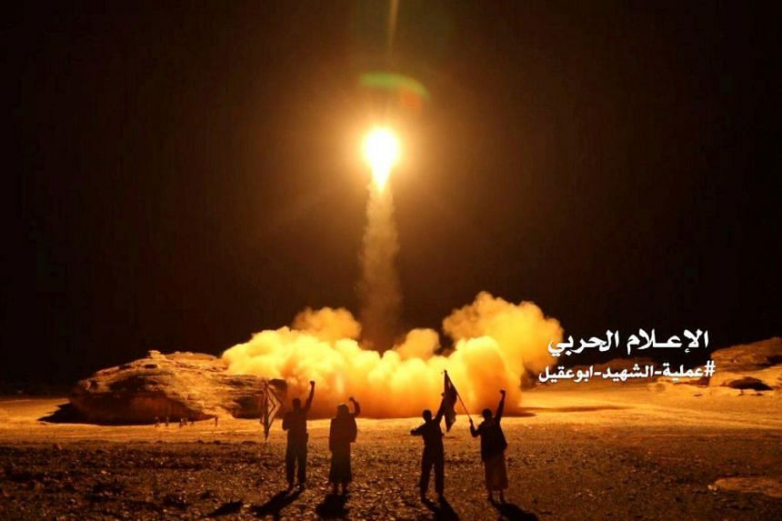 Houthi forces launching a ballistic missile towards Saudi Arabia in March 2018.