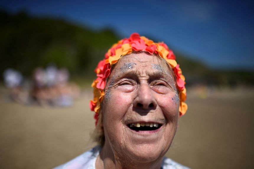 Esther, aged 85, was the oldest among 2,505 women breaking the Guinness World skinny dipping record.