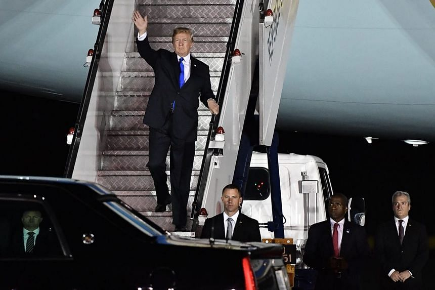 US President Donald Trump arrived in Singapore after 8.20pm on June 10, 2018, ahead of his summit meeting with North Korean leader Kim Jong Un on June 12.