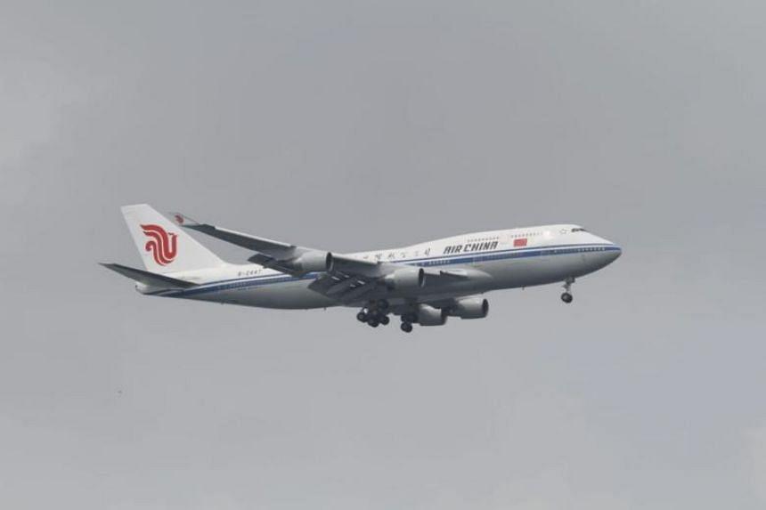 The Air China plane carrying North Korean leader Kim Jong Un.