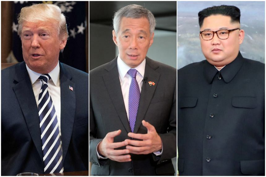 Prime Minister Lee Hsien Loong (centre) will hold separate meetings with US President Donald Trump (left) and North Korea's Kim Jong Un ahead of the two leaders' historic summit on June 12, 2018.