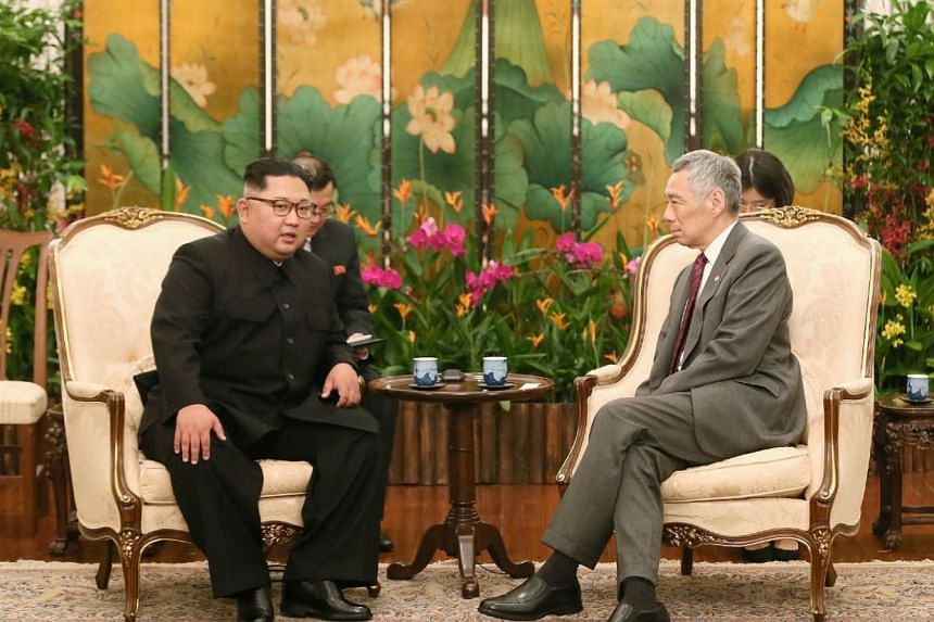 North Korean leader Kim Jong Un met Prime Minister Lee Hsien Loong at the Istana, on June 10, 2018.