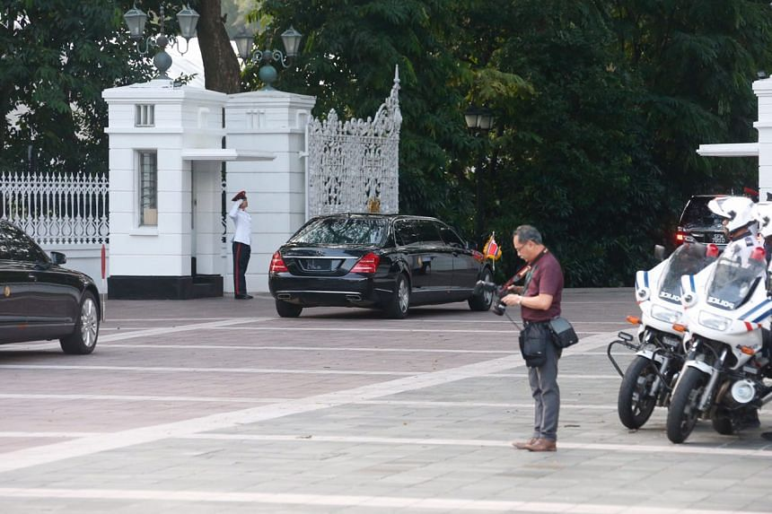 North Korean leader Kim Jong Un's motorcade arriving at the Istana for a meeting with Singapore PM Lee Hsien Loong, on June 10, 2018.
