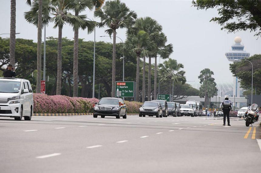 The North Korean motorcade leaving Changi Airport, on June 10, 2018.