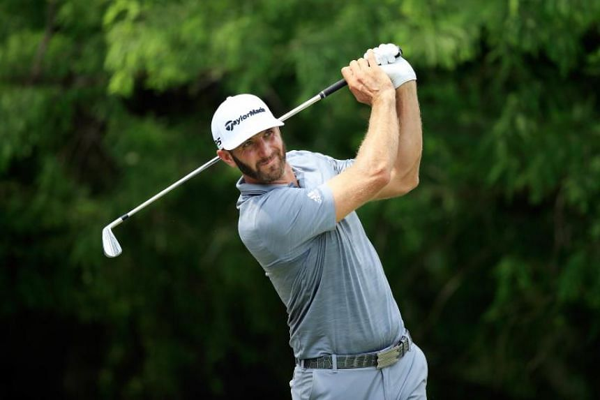Dustin Johnson teeing off during the FedEx St Jude Classic in Memphis, Tennessee, on June 9, 2018.