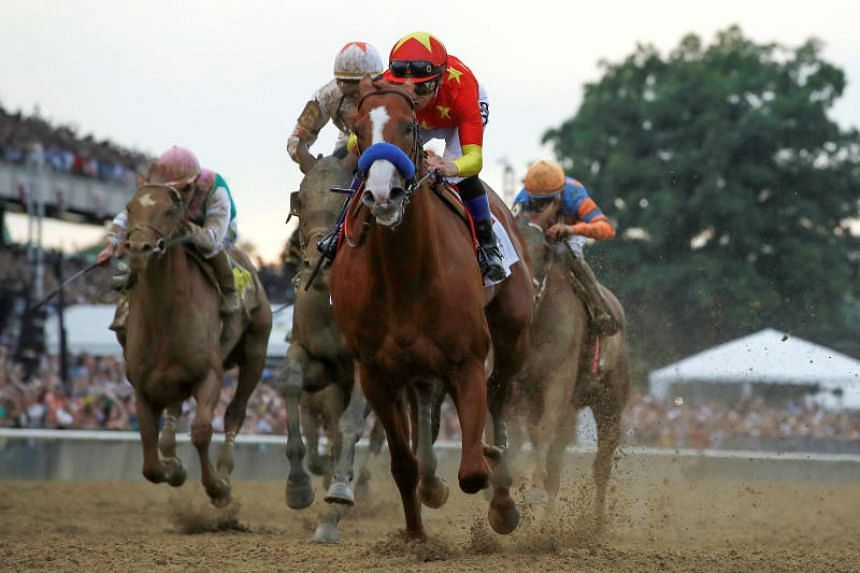 Justify with jockey Mike Smith aboard wins the 150th running of the Belmont Stakes, the third leg of the Triple Crown of Thoroughbred Racing at Belmont Park in Elmont, New York, on June 9, 2018.