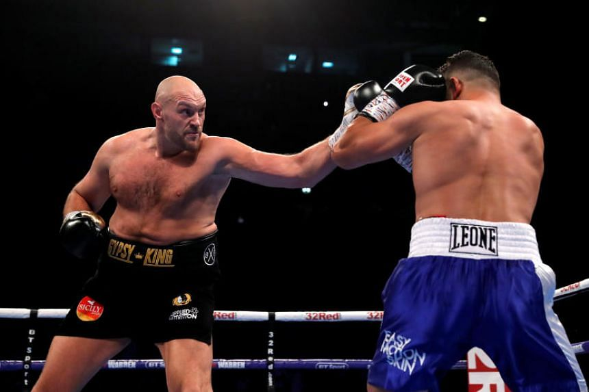 Tyson Fury in action against Sefer Seferi at the Manchester Arena, on June 9, 2018.