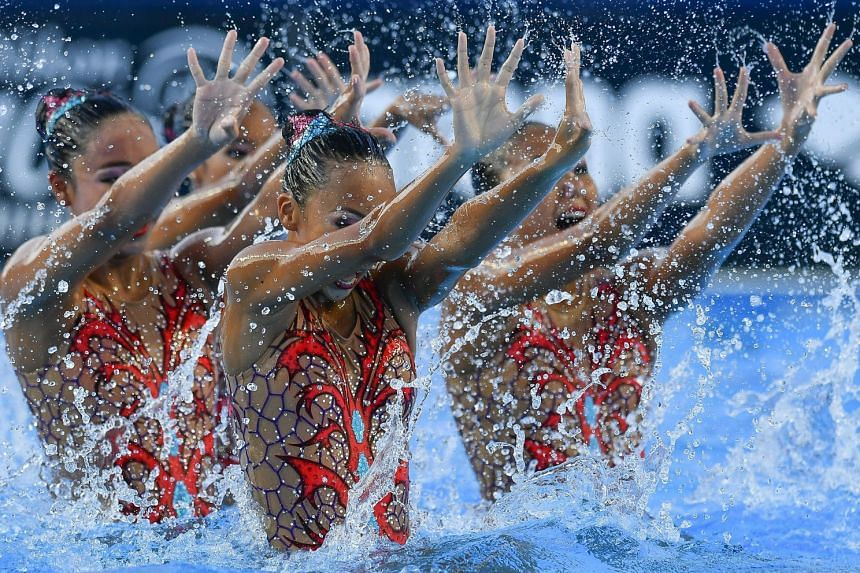 Singapore performing during the women's team free synchronised swimming preliminary routine at the 17th Fina World Championships in Budapest, Hungary on July 19, 2017. They finished 20th of 25 teams with 74.9000 points.