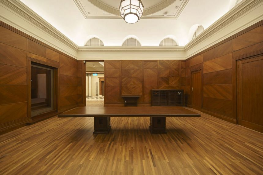 The table, part of a suite of bespoke furniture designed in 1939 by local craftsmen for the former Supreme Court building, is on loan to the US embassy for the summit.