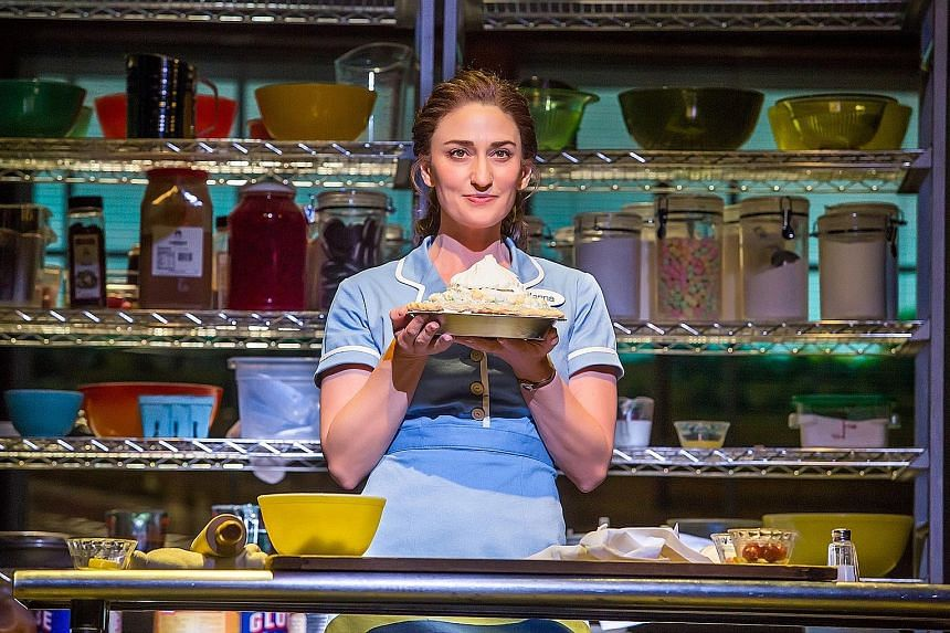 Sara Bareilles in Waitress on Broadway, where she played waitress Jenna for brief stretches this year and last.