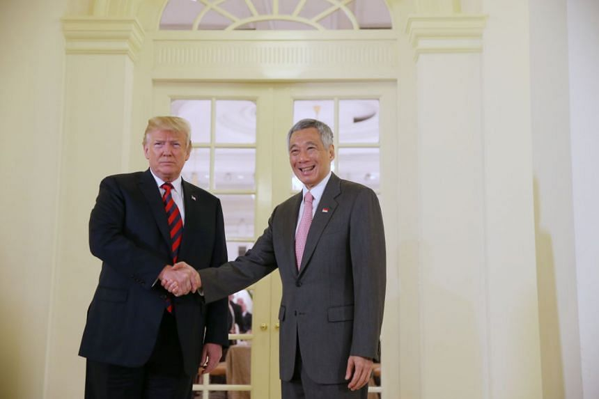 US President Donald Trump met Prime Minister Lee Hsien Loong at the Istana, on June 11, 2018.