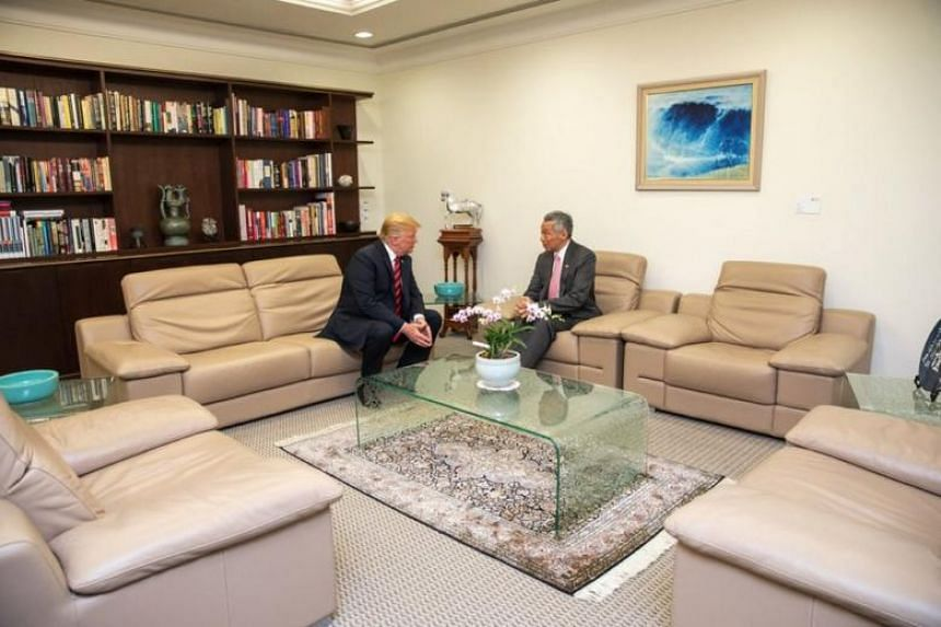 US President Donald Trump with Prime Minister Lee Hsien Loong at the Istana, on June 11, 2018.