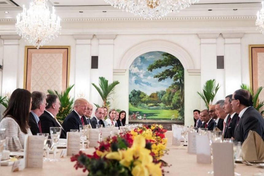 Prime Minister Lee Hsien Loong and US President Donald Trump at a working lunch at the Istana on June 11, 2018.