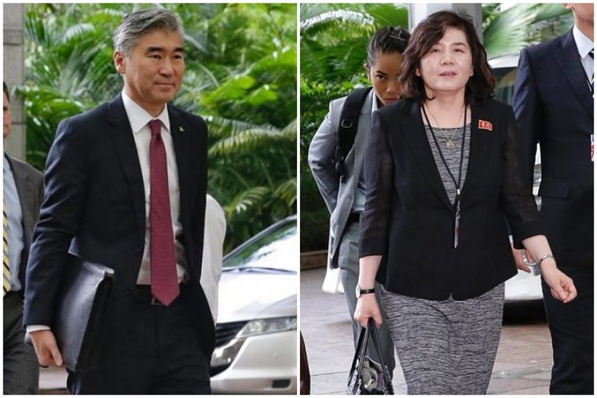 North Korean vice-foreign minister Choe Son Hui (right) arriving at The Ritz-Carlton Millenia Singapore, on June 11, 2018. US ambassador to the Philippines Sung Kim had arrived shortly before the North Korean delegation.